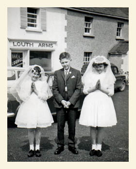 Confirmation day for Margaret and her siblings. The year was about 1965