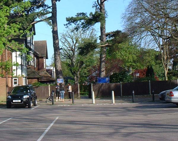 The Horseshoe car park and The Priory April 2007