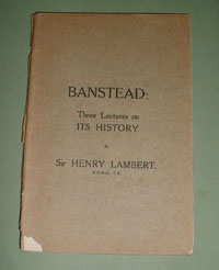 Banstead Three Lectures on its History - The original book published in 1923