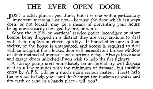 Open Door advert from Oct 1940