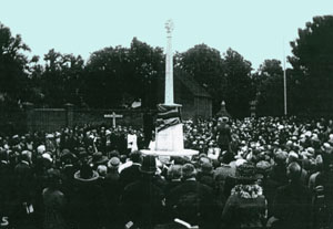 Banstead War Memorial - Unveiling in July 1921 by General Sir Charles Carmichael Monro. From a postcard held by the Banstead Library